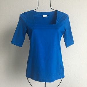 Akris square neck blue short sleeve top